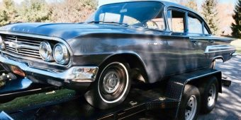 1960 Chevy Bel Air on the trailer
